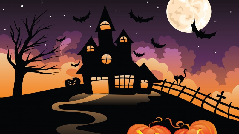 Halloween, All Hallows' Eve, All Saints' Eve, castle, night, hill, bats, full moon (horizontal)