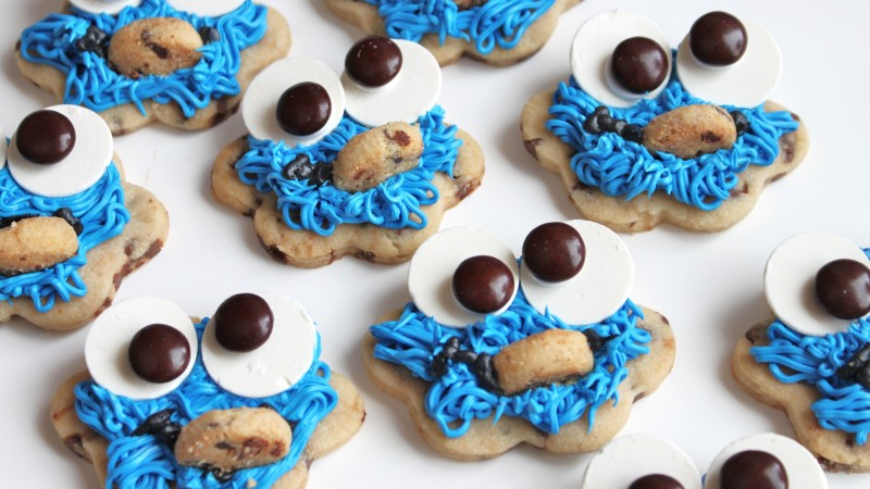 cookies, monster cookie, eyes, mouth, hair, blue, cooking, recipe (horizontal)