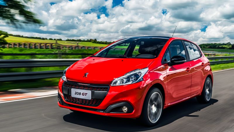 Peugeot 208 GT, hatchback, red, clouds (horizontal)