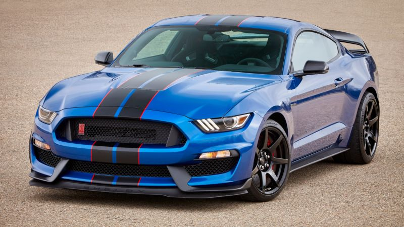 Mustang Shelby GT350, hardsedan, muscle car, blue (horizontal)