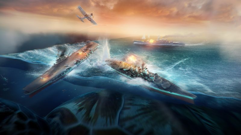 World of Warships, game, MMORPG, simulator, sea, water, battle, fire, ship, storm, Best Games of 2016 (horizontal)
