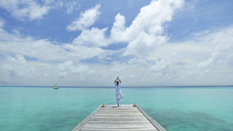 Yoga, beach, sea, blue, sky (horizontal)