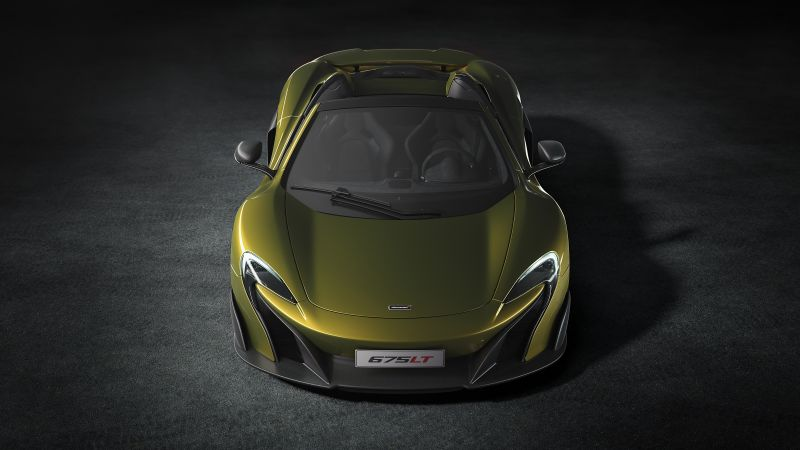 McLaren 675LT Spider, supercar, yellow (horizontal)