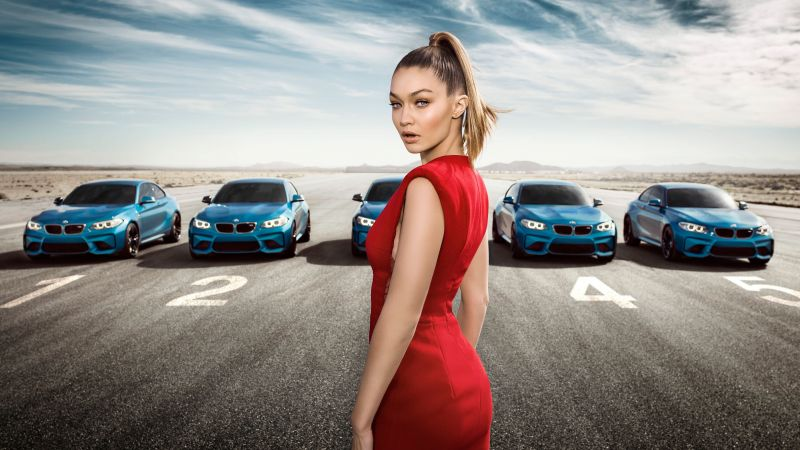 BMW M2 Coupe, Gigi Hadid, supermodel, red dress (horizontal)