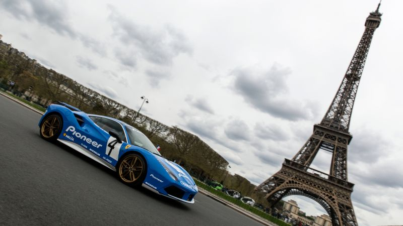 "Ferrari 488 GTB Tailor Made ""Hommage to the 308 Gr4"", blue, Eiffel Tower, Paris (horizontal)"