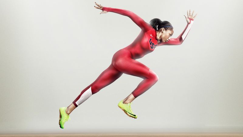 Allyson Felix, nike, running, athlete, women, red (horizontal)