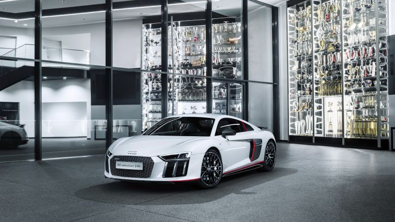 "Audi R8 V10 Plus ""selection 24h"", supercar, electric cars, white (horizontal)"