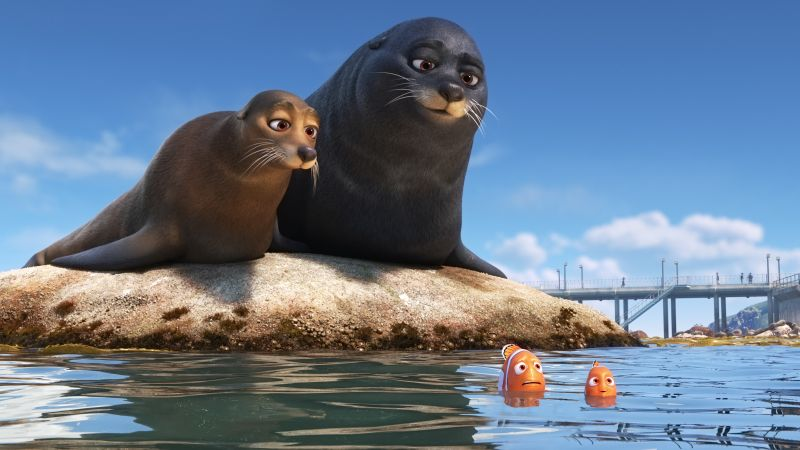 Finding Dory, seals, nemo, fish, animation (horizontal)