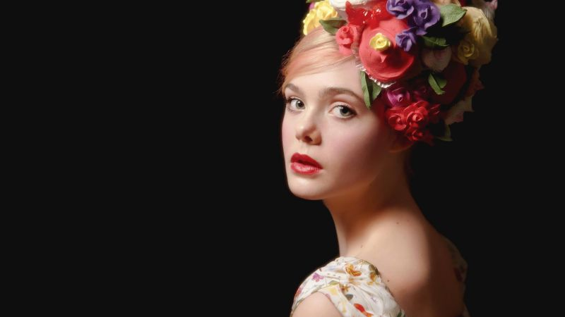 Elle Fanning, look, flowers, Most popular celebs (horizontal)