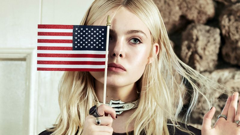 Elle Fanning, flag USA, look, Most popular celebs (horizontal)