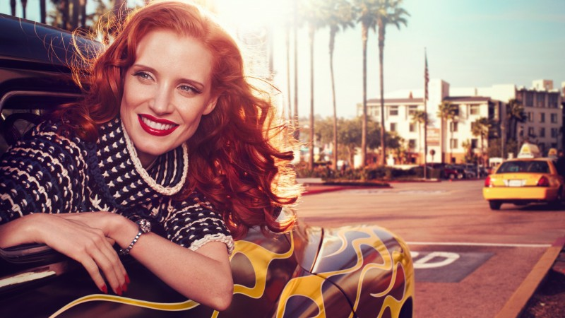 Jessica Chastain, Actress, television star, red hair, beauty, dress, red lips, car, taxi, Vogue Italia (horizontal)
