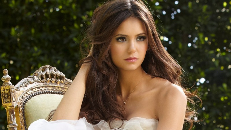 Nina Dobrev, Actress, television star, brunette, model, gymnast, look, wedding dress, Vampire Diaries (horizontal)