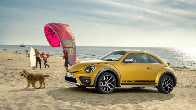 Volkswagen Beetle Dune, yellow, beach, sky, dog (horizontal)