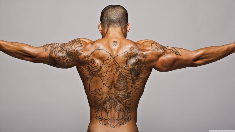 Bodybuilding, motivation, Training, back, tatoo (horizontal)