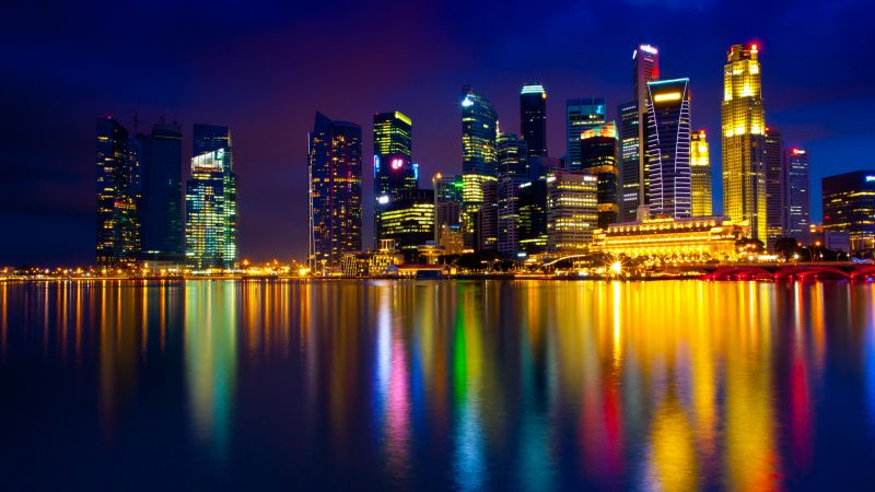 marina bay, singapore, town, color light (horizontal)