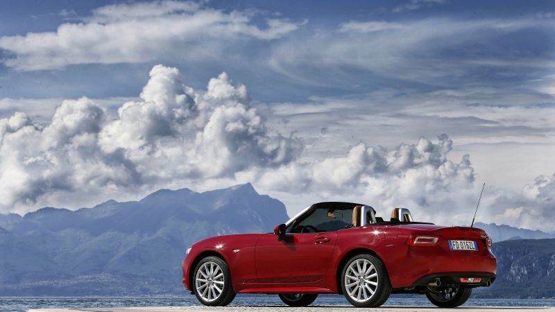 Wallpaper Fiat 124 Spider Roadster Red Snow Cars