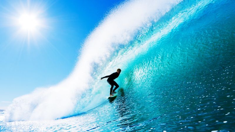 Surfing, man, sports, ocean, wave (horizontal)