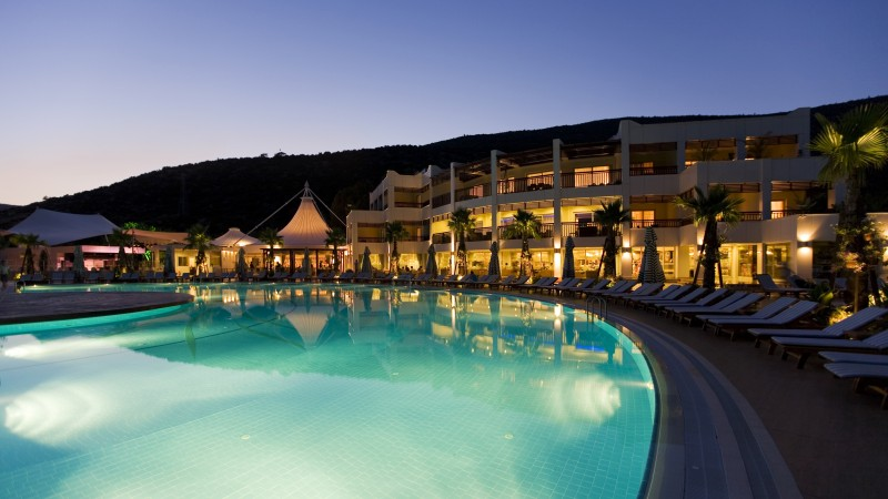 Latanya Bodrum Beach Resort, Turkey, hotel, pool, twilight, light, sunbed, travel, vacation, booking, resort, reflection (horizontal)