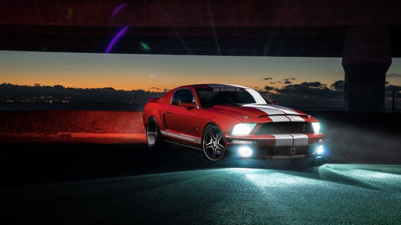 Ford Mustang Shelby GT500, speed, night, red (horizontal)