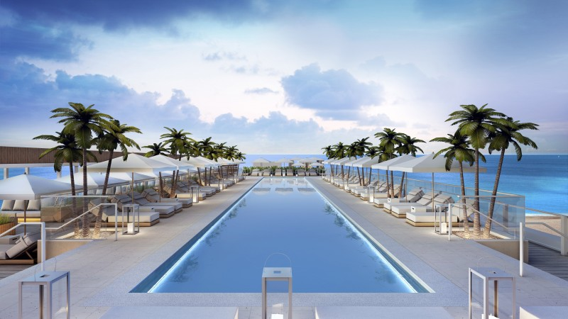 Miami, south beach, hotel, pool, sunbed, water, palm, sky, sea, ocean, water, travel, vacation, booking (horizontal)