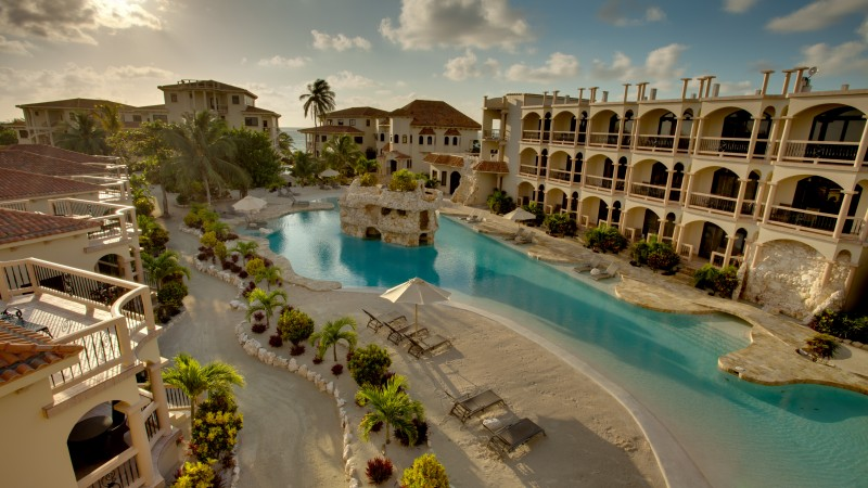 Belize, San Pedro, Hotel, pool, resort, sky, sun, travel, vacation, booking, sunbed (horizontal)