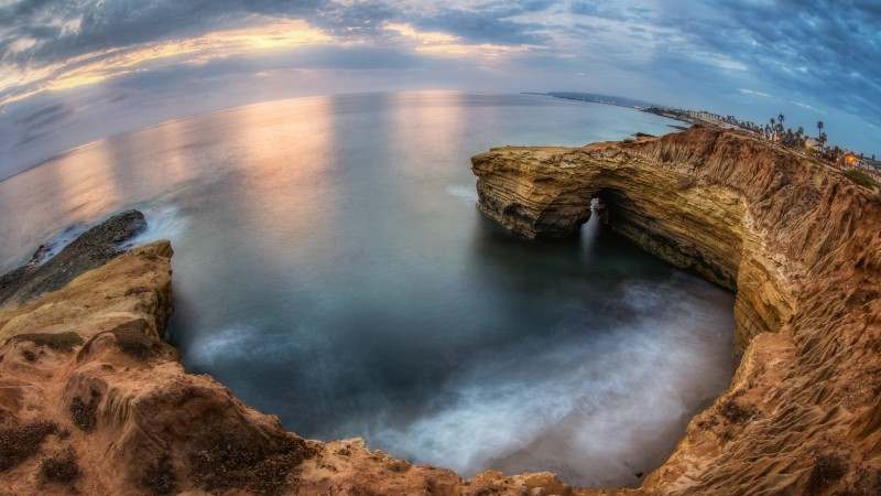 San Diego, 4k, HD wallpaper, sunset, sunrise, cliffs, sea, ocean, water, sky, clouds (horizontal)