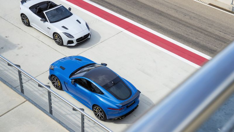 Jaguar F-Type SVR, sport cars, bluem white (horizontal)