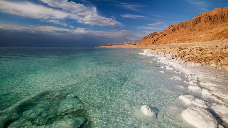 Dead Sea, 5k, 4k wallpaper, Israel, Palestine, Jordan, sea, water, sky, clouds, transparent, salt (horizontal)