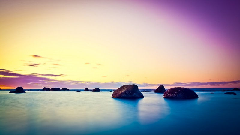 Lake, 5k, 4k wallpaper, sea, Ocean, sunset, sunrise, stone, clouds, sky, blue, pink. nature (horizontal)