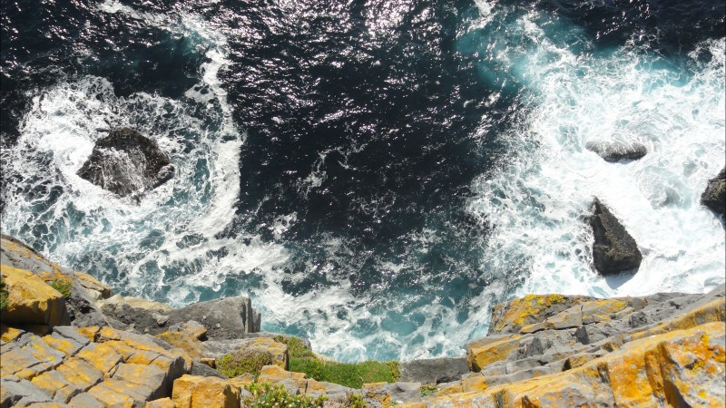 Ireland, 5k, 4k wallpaper, cliffs, landscape, Sea, ocean, water, rocks, blue, nature (horizontal)
