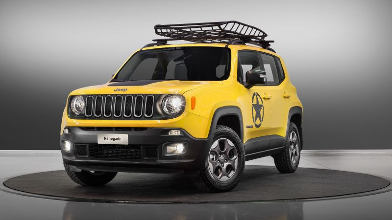 jeep renegade longitude moparized, paris auto show 2016, yellow (horizontal)