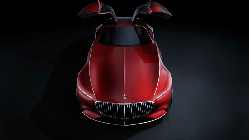 Vision Mercedes Maybach 6, electric cars, luxury cars, red (horizontal)
