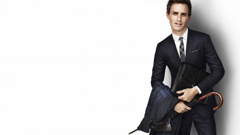 Eddie Redmayne, actor, model, umbrella, coat, Jupiter Ascending (horizontal)