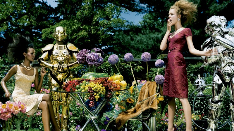 Liya Kebede, Natalia Vodianova, model, actress, philanthropist, blonde, red, dress, garden, fruit, robots, flowers (horizontal)