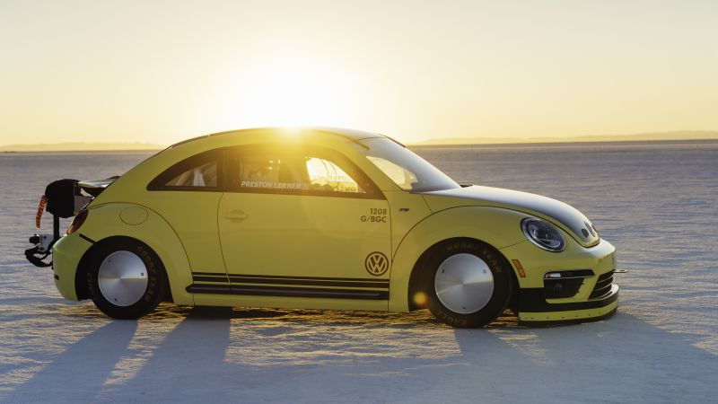 Volkswagen Beetle LSR, rally, yellow, speed (horizontal)