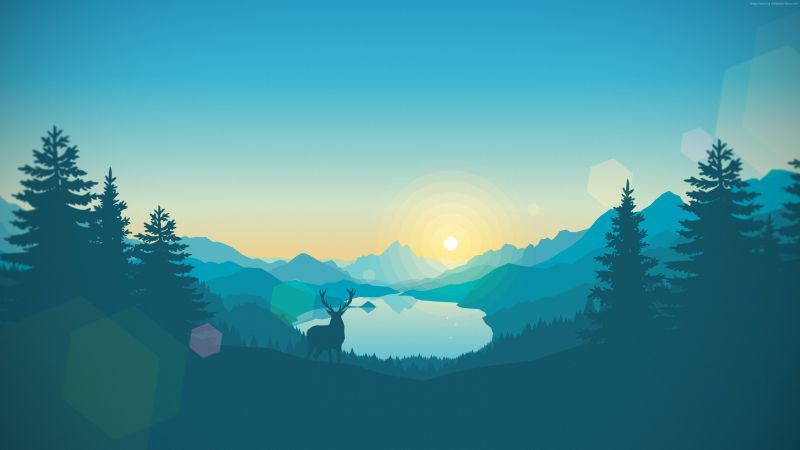 flat, forest, deer, 4k, 5k, iphone wallpaper, abstract (horizontal)