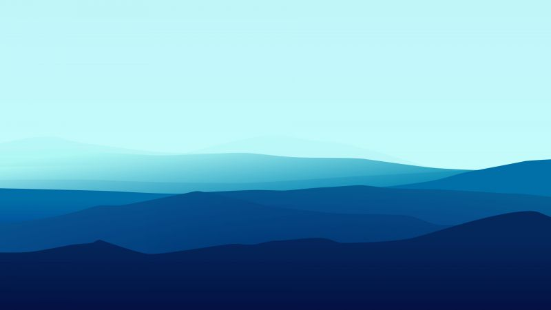 landscape, flat, 4k, 5k, fog, iphone wallpaper, forest, blue (horizontal)