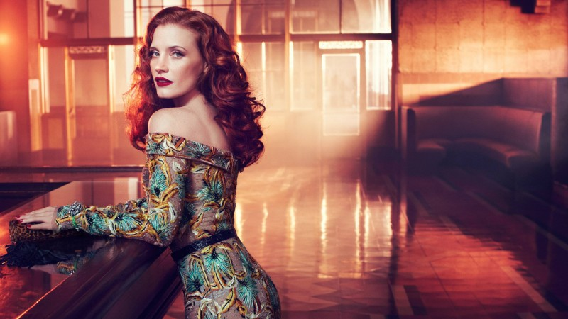 Jessica Chastain, red hair, beauty, dress, red lips, interior, Vogue Italia (horizontal)
