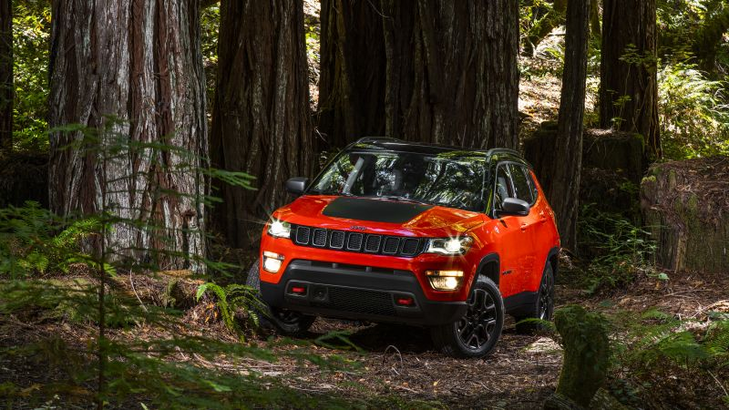 Jeep Compass Trailhawk, suv, orange, forest (horizontal)