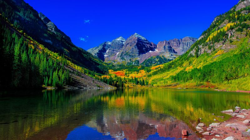 Maroon Bells, 5k, 4k wallpaper, 8k, colorado, mount, river (horizontal)