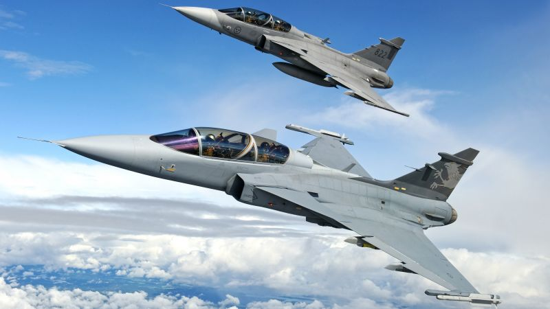 Saab JAS 39 Gripen, fighter aircraft, Swedish Air Force (horizontal)