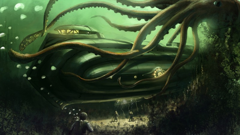 Octopus, Nautilus, Jules Verne, bottom, ocean, boat. Underwater, ocean, sea, water, art, green (horizontal)