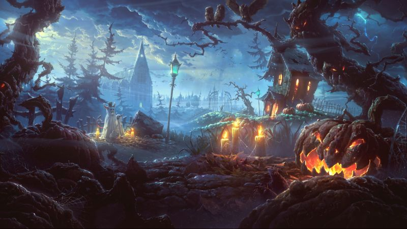 Holiday, Halloween, 31 October, pumpkin host, forest, castle (horizontal)