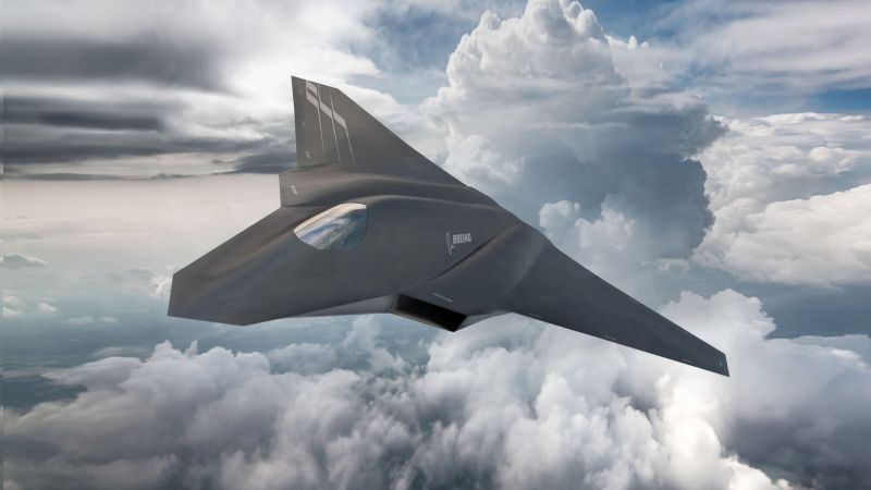 Boeing F X, fighter aircraft, clouds, Concept, U.S. Air Force (horizontal)