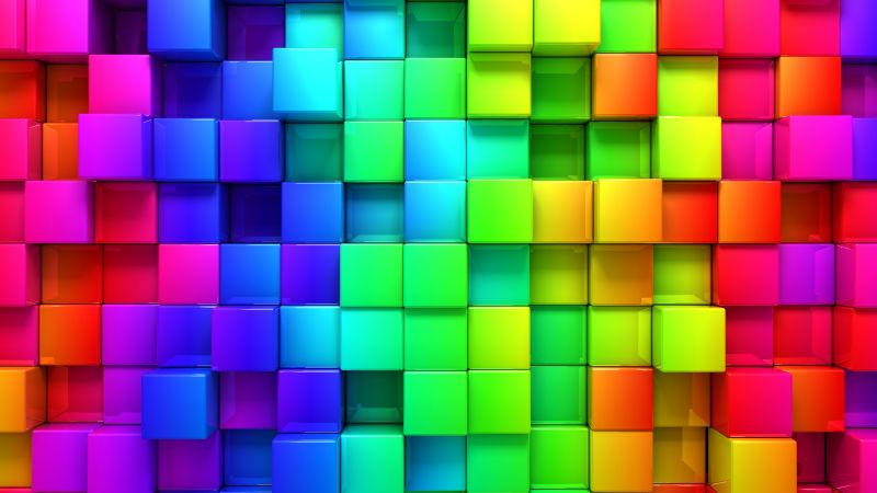 cube, blocks, 4k, 5k, 3d, iphone wallpaper, android wallpaper, rainbow, abstract (horizontal)
