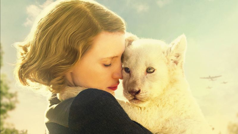 The Zookeeper's Wife, Jessica Chastain, lion (horizontal)