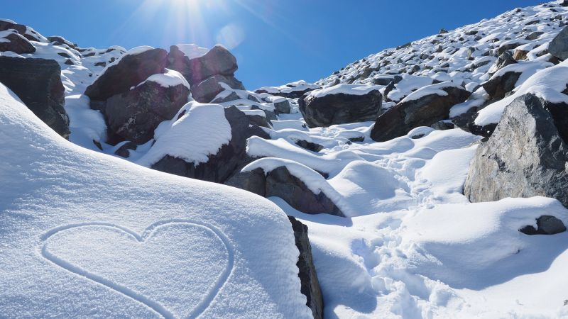 Snow, sunny, 4k, HD wallpaper, New Zealand, love, mountain, Rocks (horizontal)