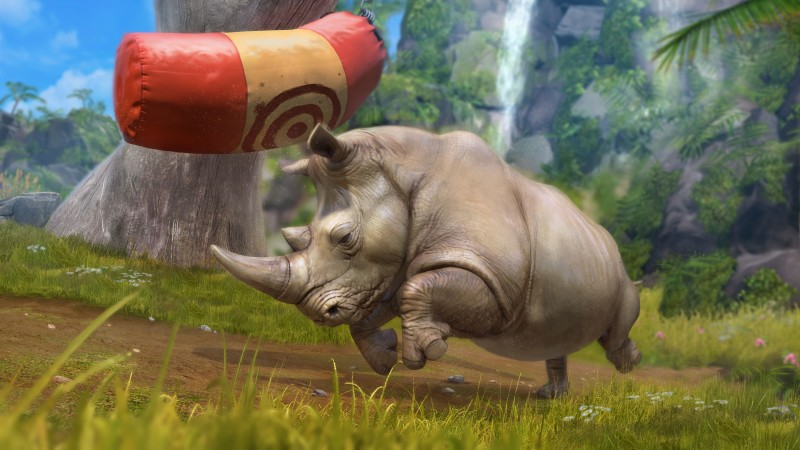 Rhino, green grass, nature, waterfall, grey, zoo tycoon, animal (horizontal)