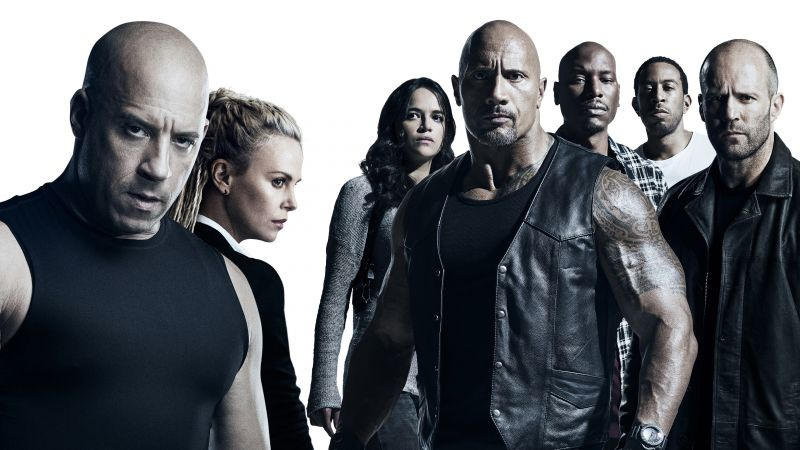 The Fate of the Furious, Vin Diesel, Dwayne Johnson, Jason Statham, Michelle Rodriguez, best movies (horizontal)