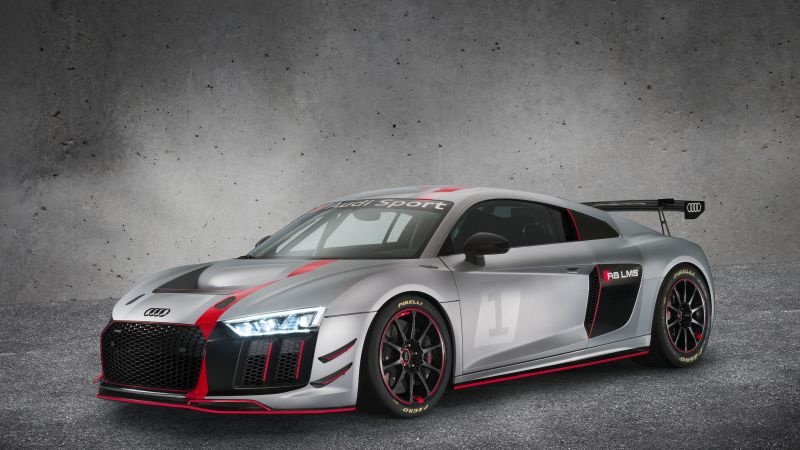 Audi R8 LMS GT4, sport car, gray, 2017 New York Auto Show (horizontal)